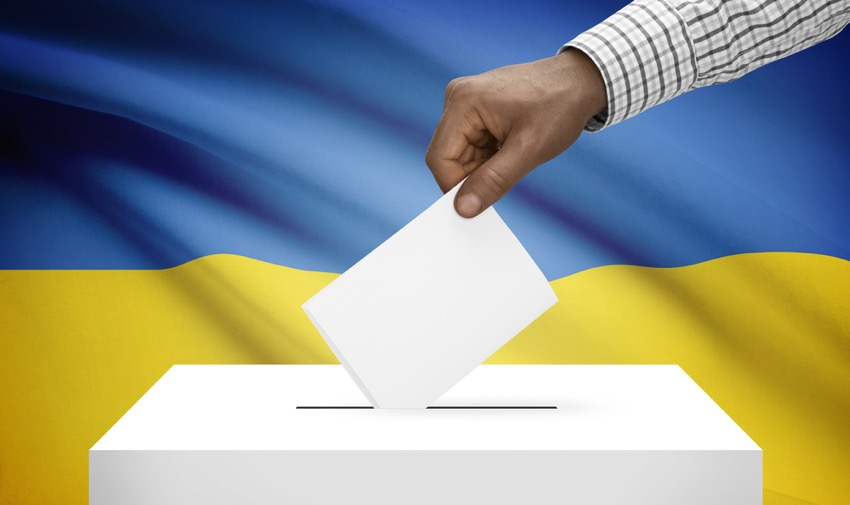 Ballot box with national flag on background - Ukraine